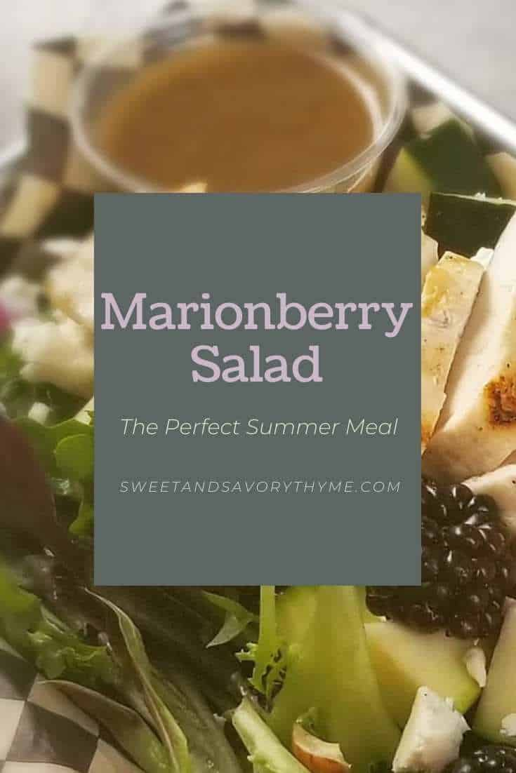 marionberry salad with the words Marionberry Salad the perfect summer meal