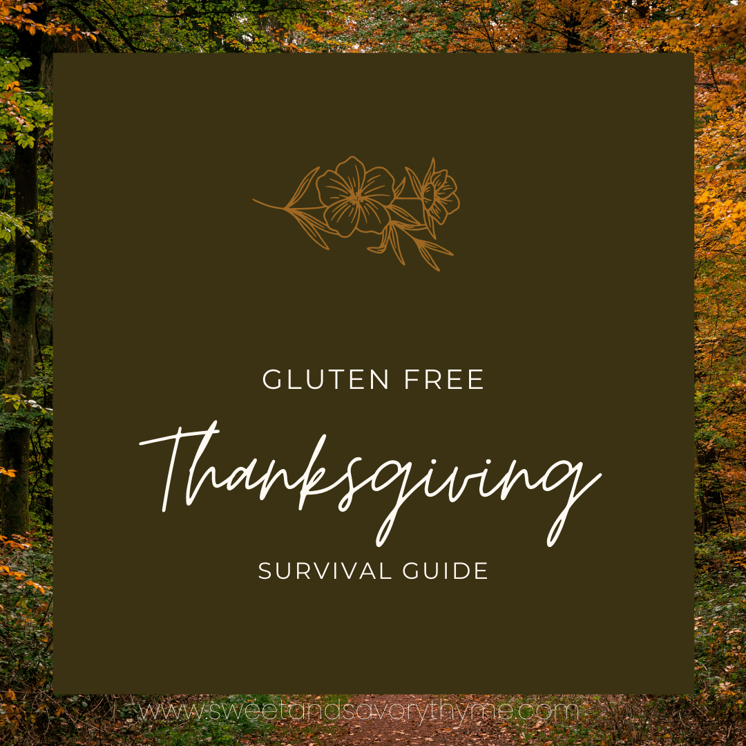 image with the words gluten free thanksgiving survival guide
